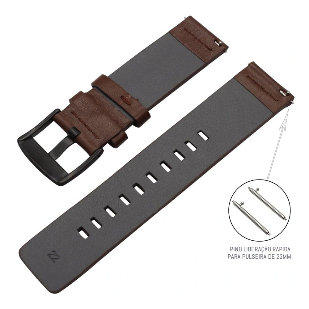Pulseira Couro compatível com Samsung Galaxy Watch 3 45mm - Galaxy Watch 46mm - Gear S3 Frontier - Amazfit GTR 47mm (MARROM-ESCURO)