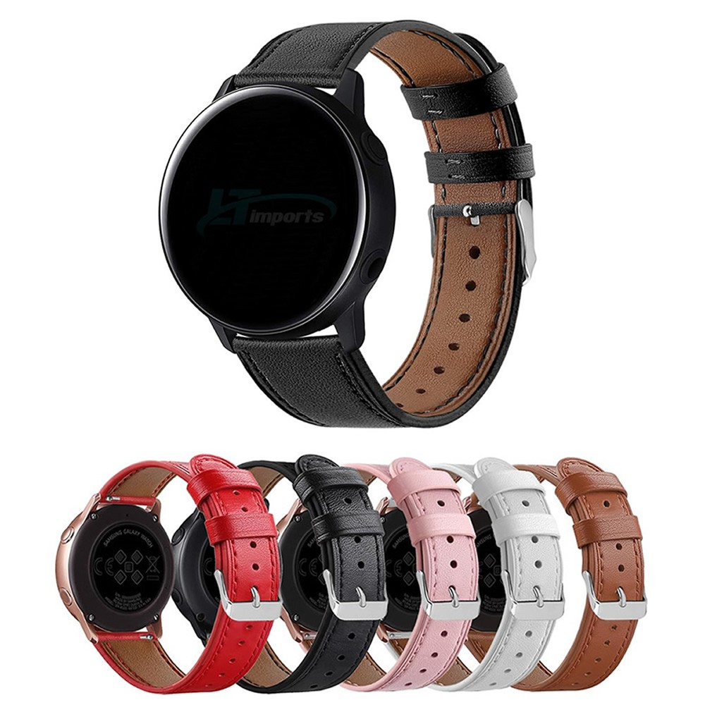Pulseira de Couro 20mm compatível com Samsung Galaxy Watch Active - Galaxy Watch 3 41mm - Galaxy Watch 42mm - Amazfit GTR 42mm