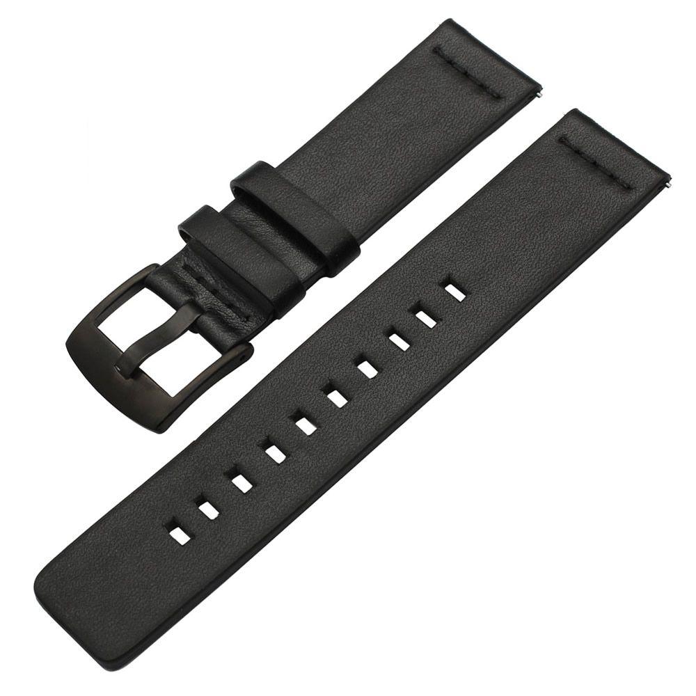Pulseira Couro compatível com Samsung Galaxy Watch Active 40mm 44mm - Galaxy Watch 3 41mm - Galaxy Watch 42mm - Amazfit GTR 42mm - Amazfit Bip (PRETO)
