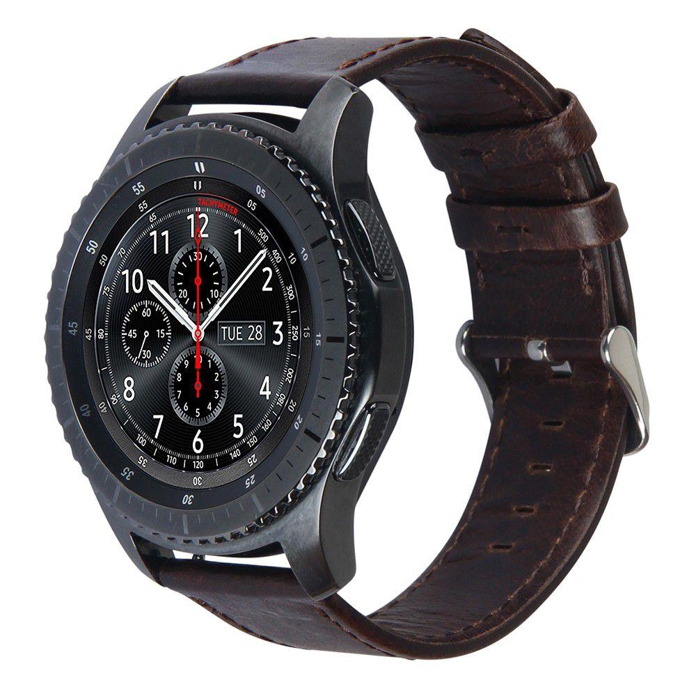 Pulseira Clássica de Couro compatível com Samsung Galaxy Watch 3 45mm - Galaxy Watch 46mm - Gear S3 Frontier - Amazfit GTR 47mm (CAFÉ)