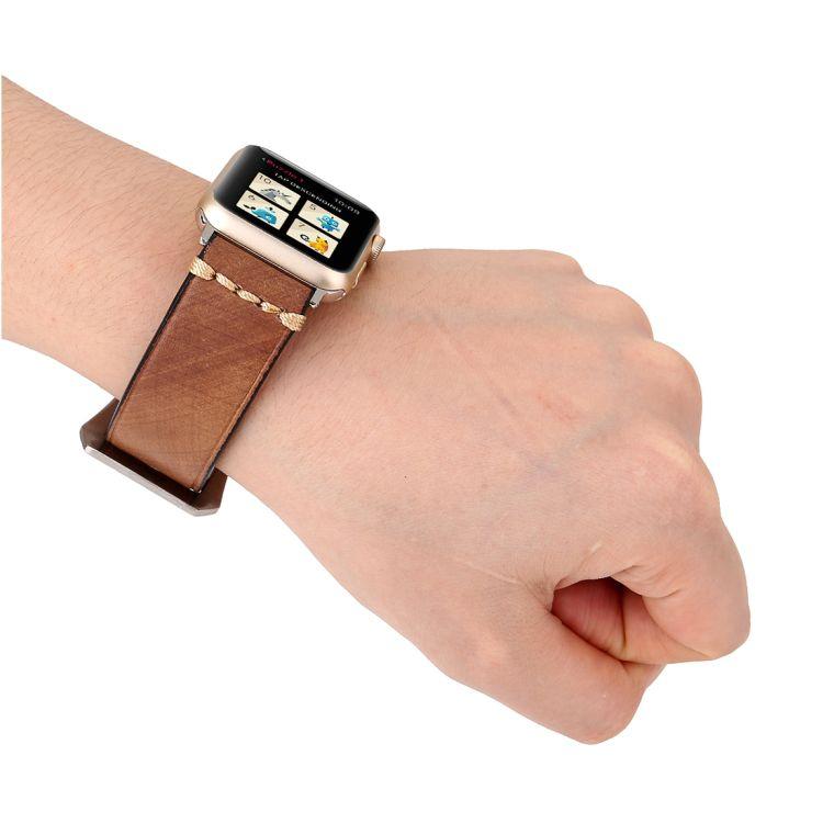 Pulseira de Couro Tour compatível com Apple Watch 44mm e 42mm (CAQUI)