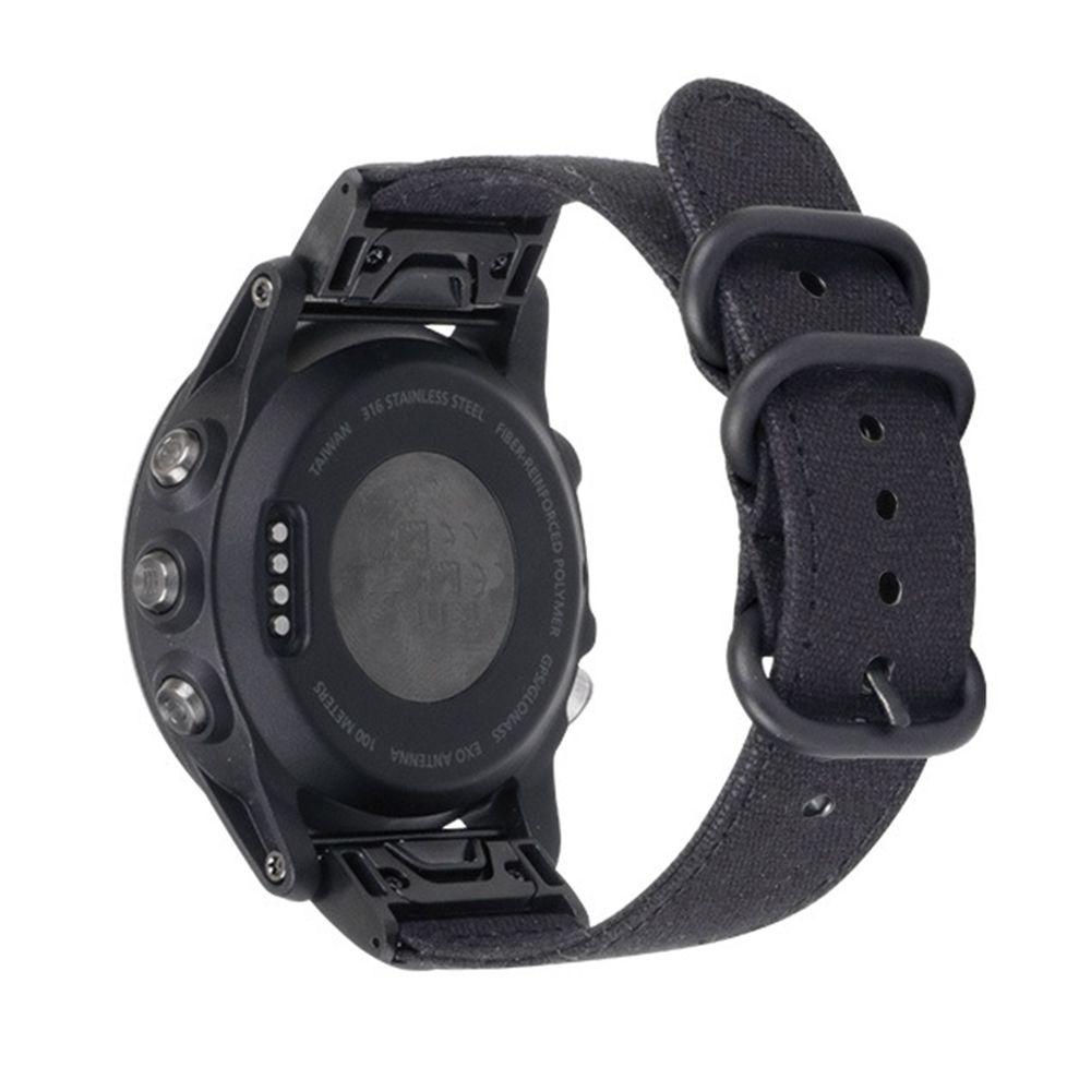 Pulseira de Nylon Militar compatível com Garmin Fênix 5 - Fênix 5 Plus - Fênix 6 - Forerunner 935 - Forerunner 945 (PRETO)