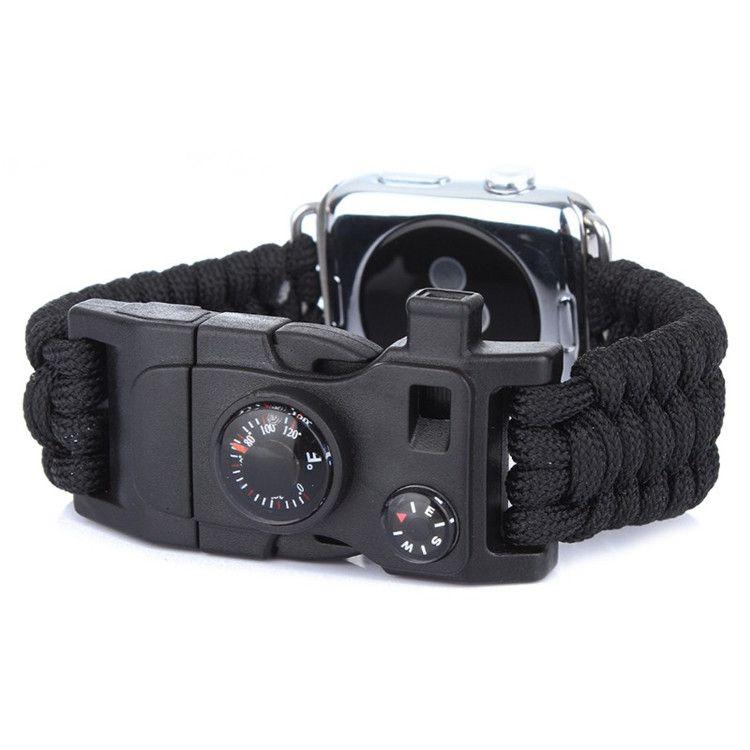 Pulseira de Sobrevivência Paracord com Pederneira compatível com Apple Watch 40mm e 38mm (PRETO)
