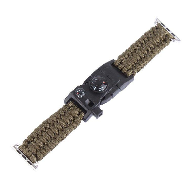Pulseira de Sobrevivência Paracord com Pederneira compatível com Apple Watch 40mm 38mm (VERDE)