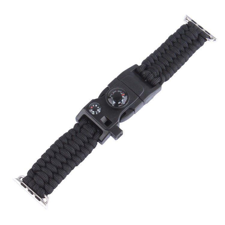 Pulseira de Sobrevivência Paracord com Pederneira compatível com Apple Watch 44mm e 42mm (PRETO)