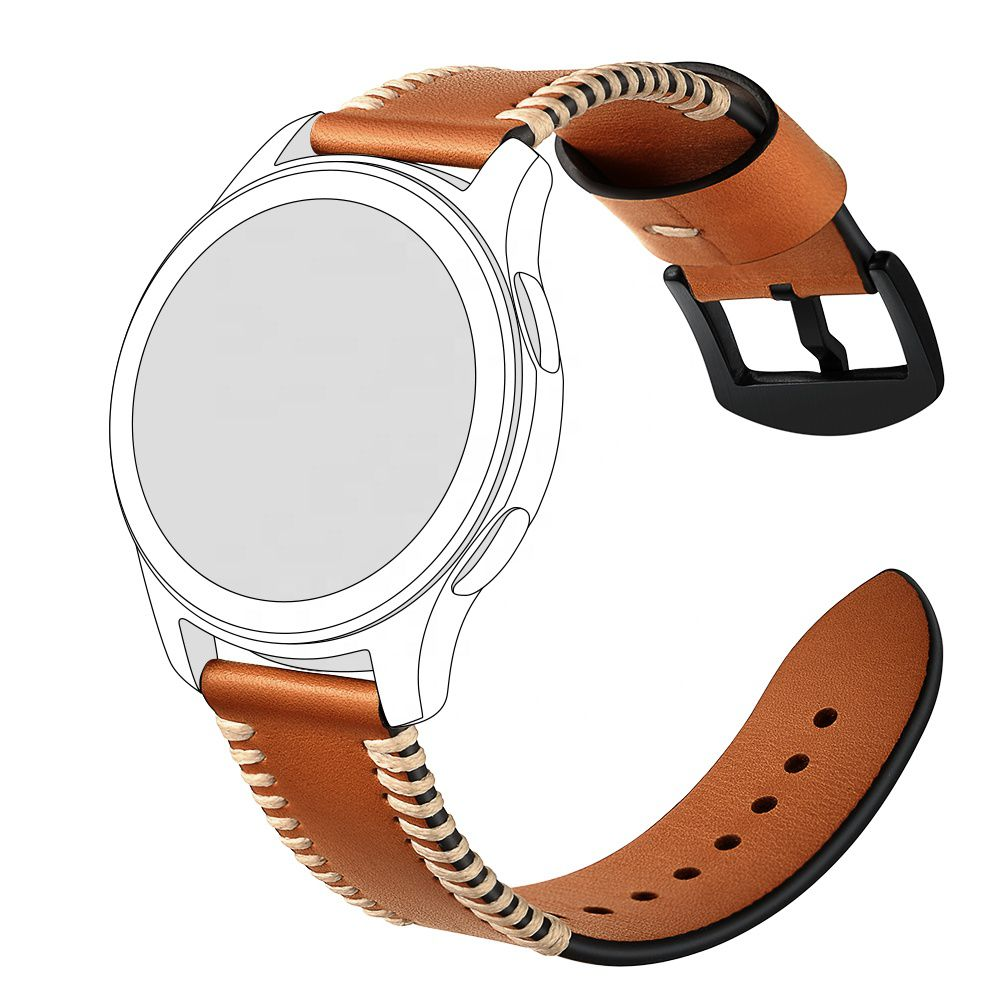 Pulseira Especial Couro 20mm compatível com Galaxy Watch Active 40mm 44mm - Galaxy Watch 3 41mm - Galaxy Watch 42mm - Amazfit GTR 42mm (MARROM-CLARO)
