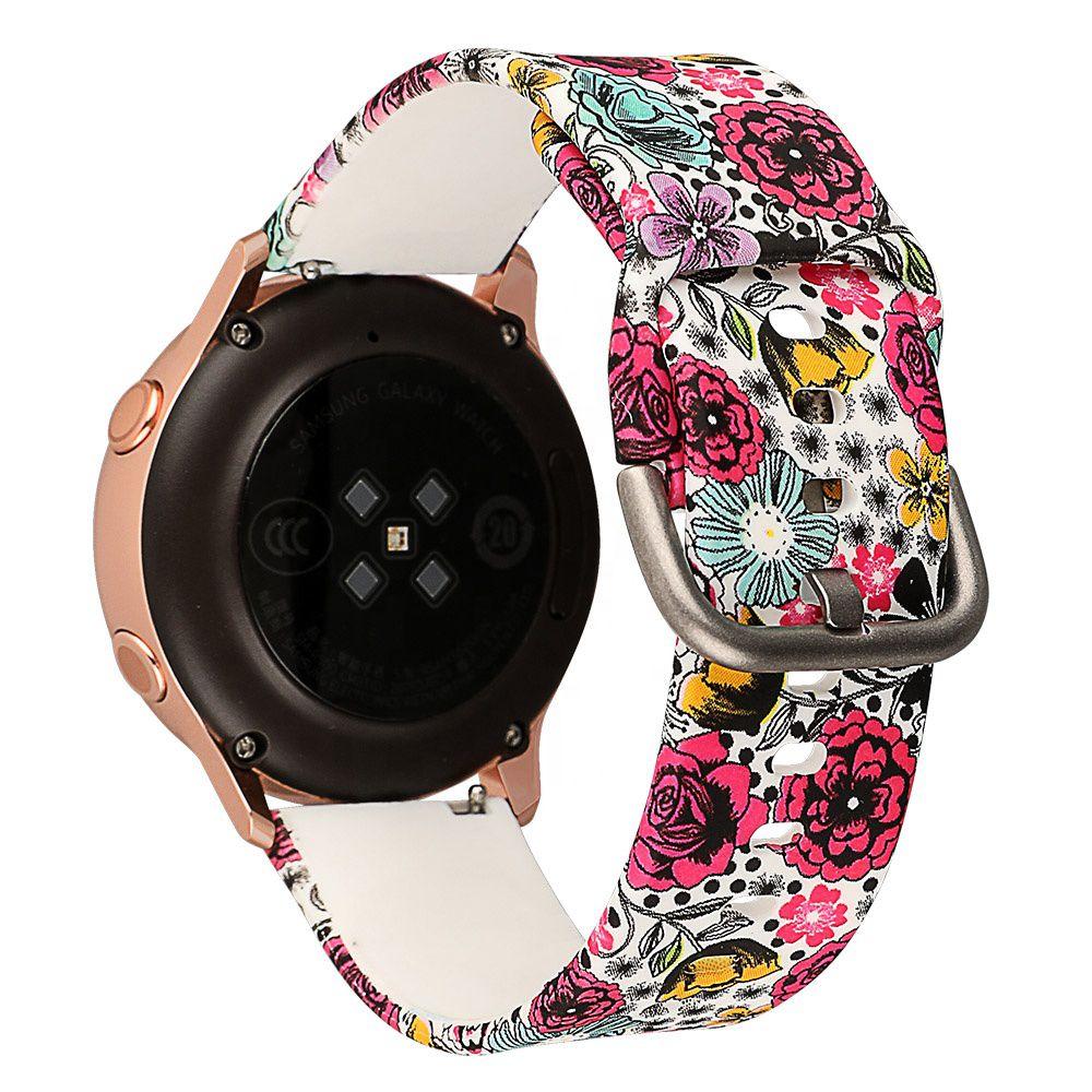 Pulseira Floral Silicone compatível com Samsung Galaxy Watch Active 40mm 44mm - Galaxy Watch 3 41mm - Galaxy Watch 42mm - Amazfit GTR 42mm