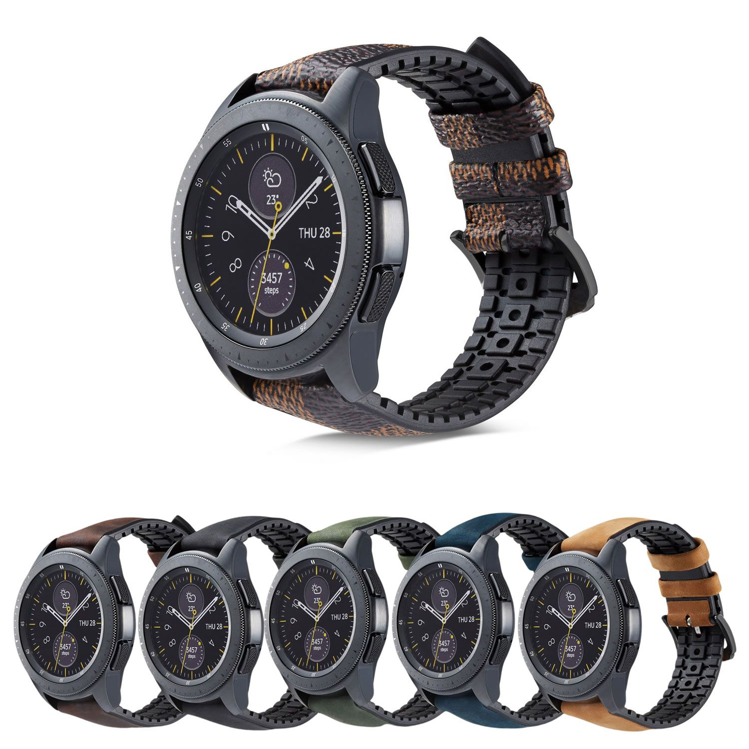 Pulseira Híbrida compatível com Samsung Galaxy Watch Active - Galaxy Watch 3 41mm - Galaxy Watch 42mm - Amazfit GTR 42mm