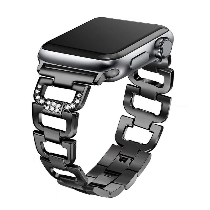 Pulseira Luxury compatível com Apple Watch 40mm e 38mm (PRETO)
