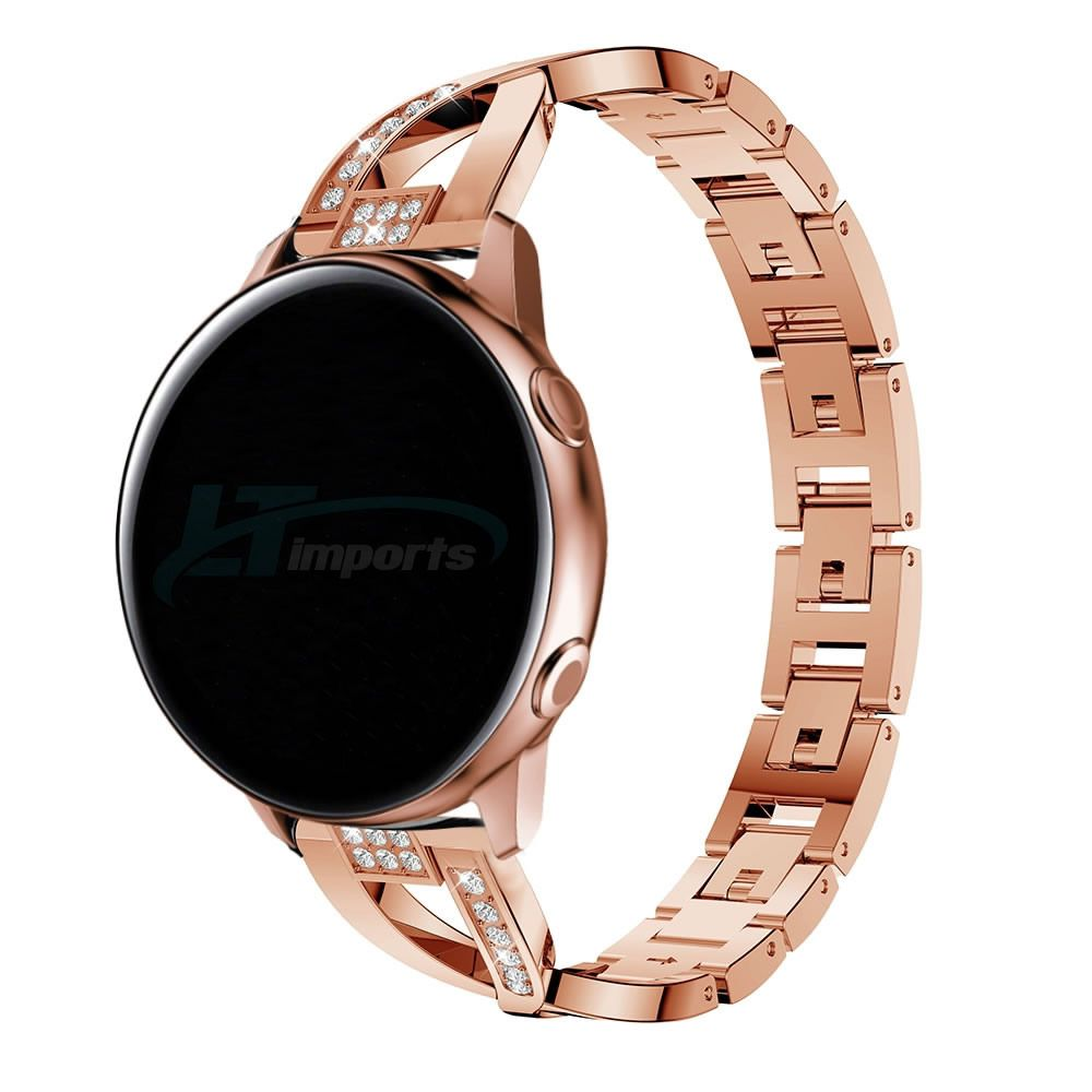 Pulseira Luxury X compatível com Samsung Galaxy Watch Active 40mm 44mm - Galaxy Watch 3 41mm - Galaxy Watch 42mm - Amazfit GTR 42mm (ROSE GOLD)