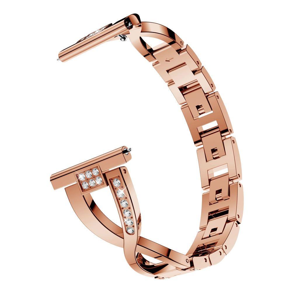 Pulseira Luxury X compatível com Samsung Galaxy Watch Active 1 e 2 - Galaxy Watch 3 41mm - Galaxy Watch 42mm - Amazfit GTR 42mm (ROSE GOLD)