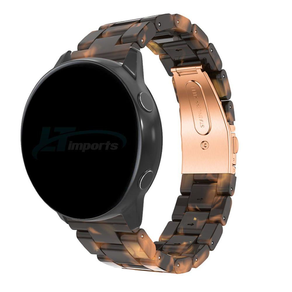 Pulseira 3 Elos Resina compatível com Samsung Galaxy Watch Active 1 e 2 - Galaxy Watch 3 41mm - Galaxy Watch 42mm (Tartaruga)