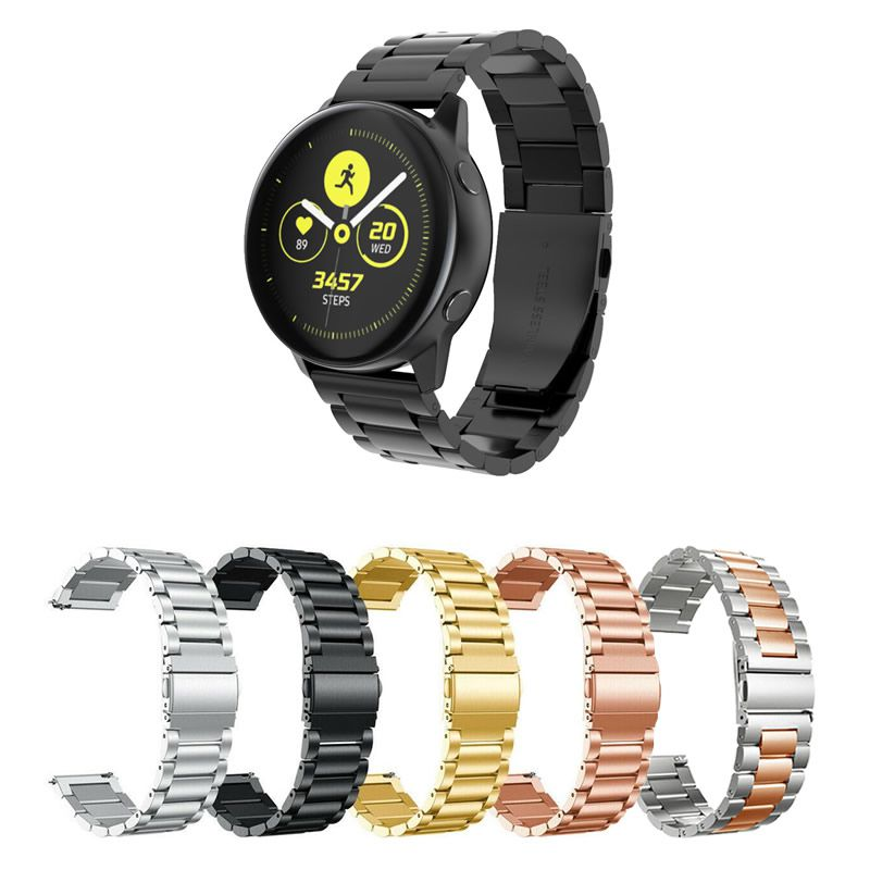 Pulseira Metal 3 Elos compatível com Samsung Galaxy Watch Active 40mm 44mm - Galaxy Watch 3 41mm - Galaxy Watch 42mm - Amazfit GTR 42mm - Amazfit Bip