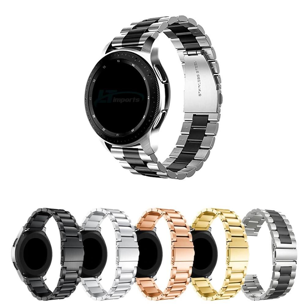 Pulseira Metal 3 Elos compatível com Samsung Galaxy Watch 3 45mm - Galaxy Watch 46mm - Gear S3 Frontier - Amazfit GTR 47mm - Huawei Watch GT 2 46mm