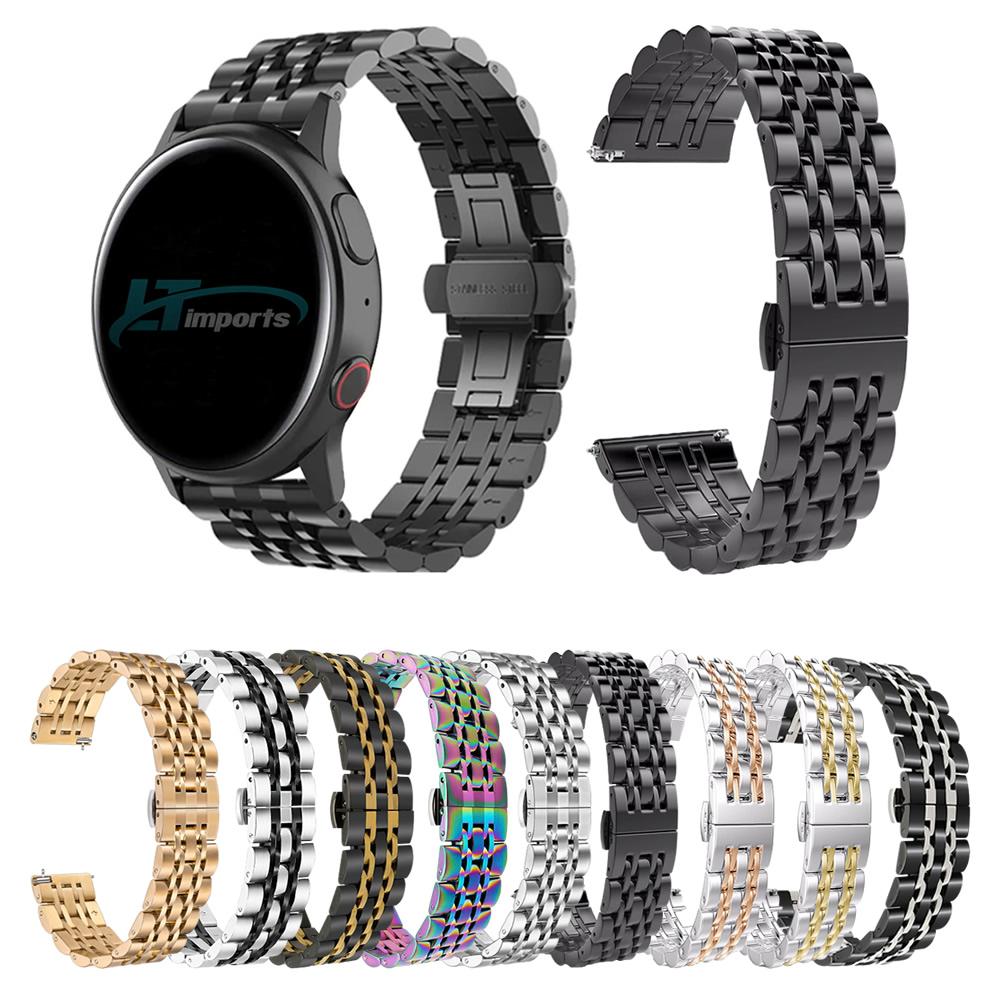 Pulseira Metal 7 Elos compatível com Samsung Galaxy Watch Active 1 e 2 - Galaxy Watch 3 41mm - Galaxy Watch 42mm - Amazfit GTR 42mm