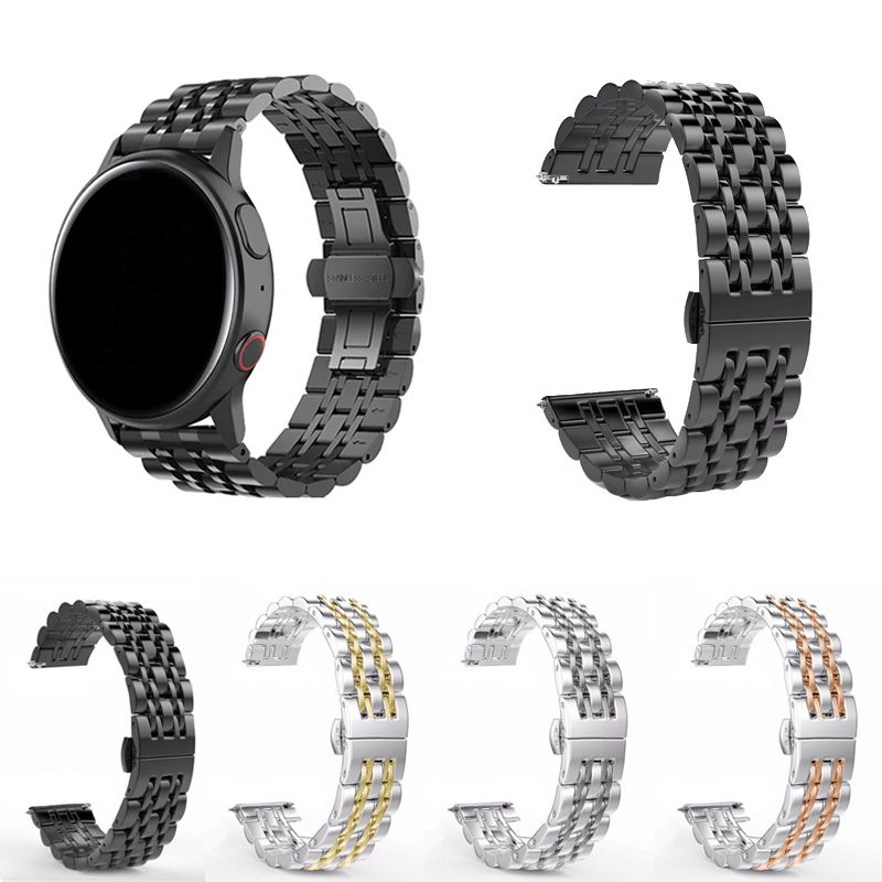 Pulseira Metal 7 Elos compatível com Samsung Galaxy Watch Active 40mm 44mm - Galaxy Watch 3 41mm - Galaxy Watch 42mm - Amazfit GTR 42mm - Amazfit Bip