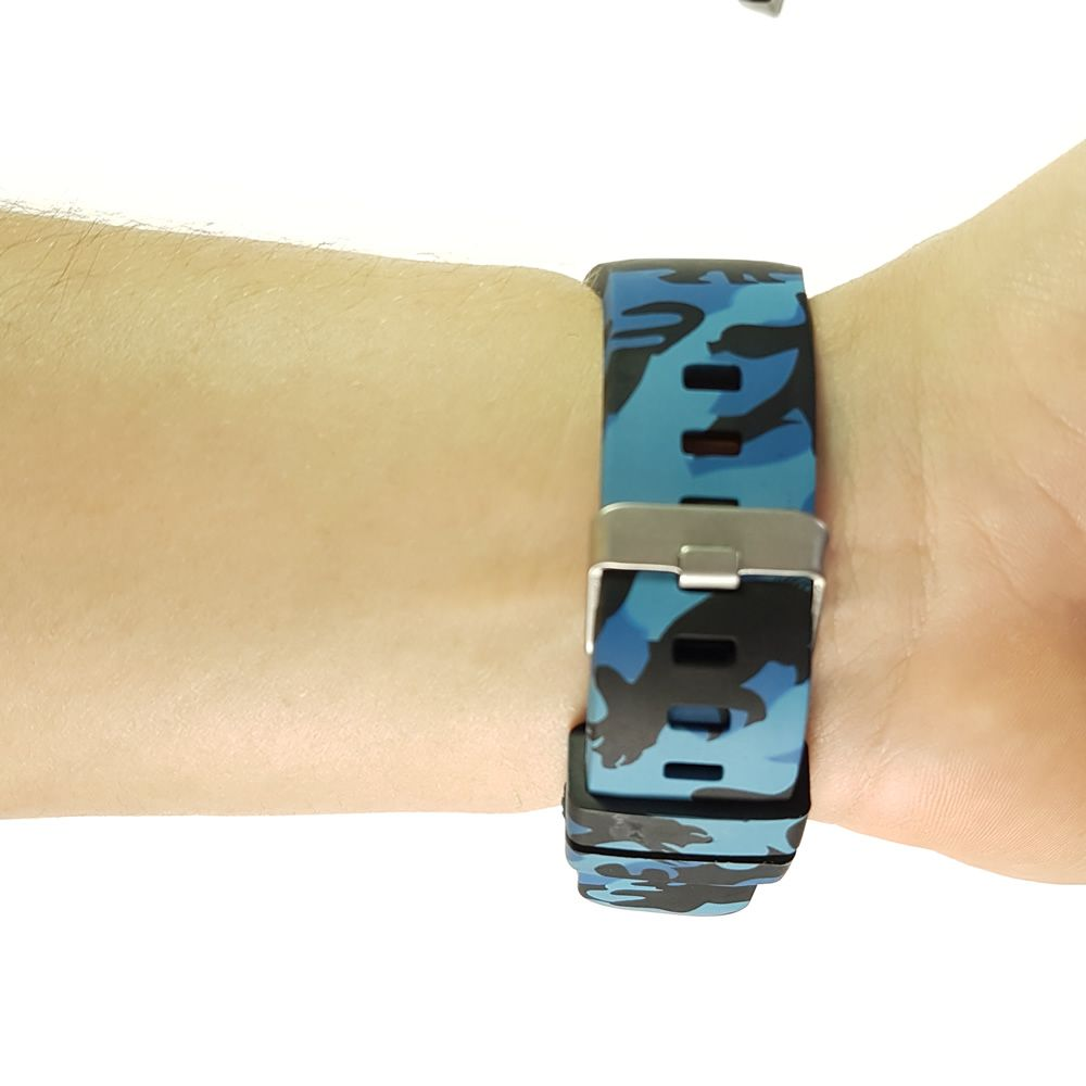 Pulseira Camuflada Militar compatível com Samsung Galaxy Watch 3 45mm - Galaxy Watch 46mm - Gear S3 Frontier - Amazfit GTR 47mm (AZUL)