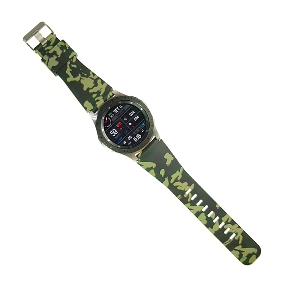 Pulseira Camuflada Militar compatível com Samsung Galaxy Watch 3 45mm - Galaxy Watch 46mm - Gear S3 Frontier Classic - Amazfit GTR 47mm (VERDE)