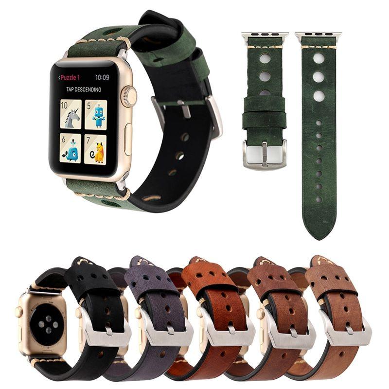 Pulseira de Couro Retro compatível com Apple Watch 44mm e 42mm