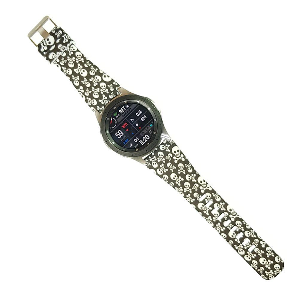 Pulseira Caveira compatível com Samsung Galaxy Watch 3 45mm - Galaxy Watch 46mm - Gear S3 Frontier - Amazfit GTR 47mm