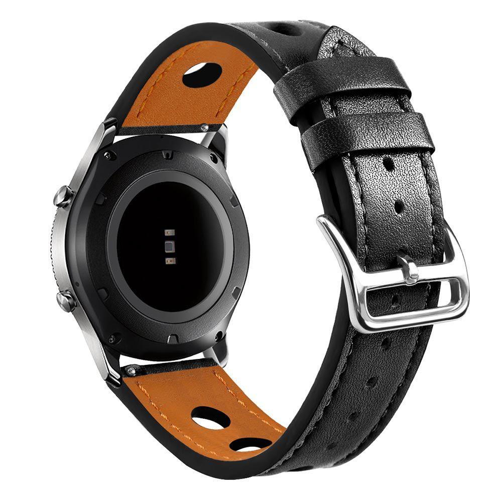 Pulseira Sport Couro compatível com Samsung Galaxy Watch 3 45mm - Galaxy Watch 46mm - Gear S3 Classic - Amazfit GTR 47mm Huawei Watch GT2 46mm (PRETO)