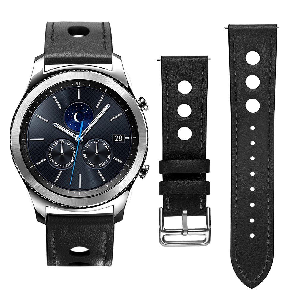 Pulseira Sport Couro 22mm compatível com Samsung Galaxy Watch 3 45mm - Galaxy Watch 46mm - Gear S3 Classic - Gear S3 Frontier (PRETO)