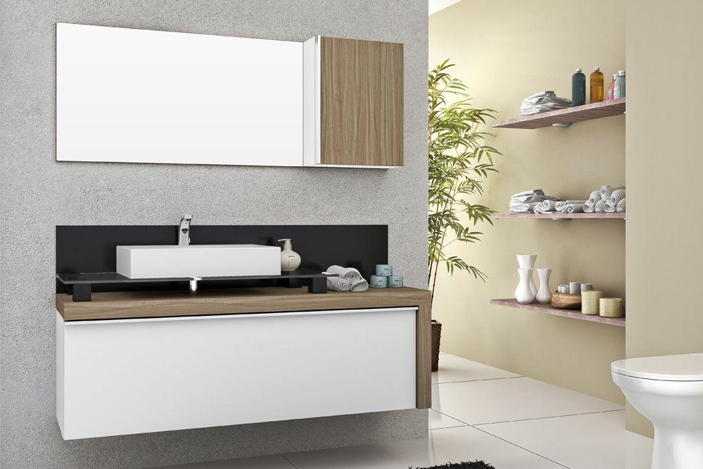 Armario De Banheiro Balcão Cristalo 140 Mazzu