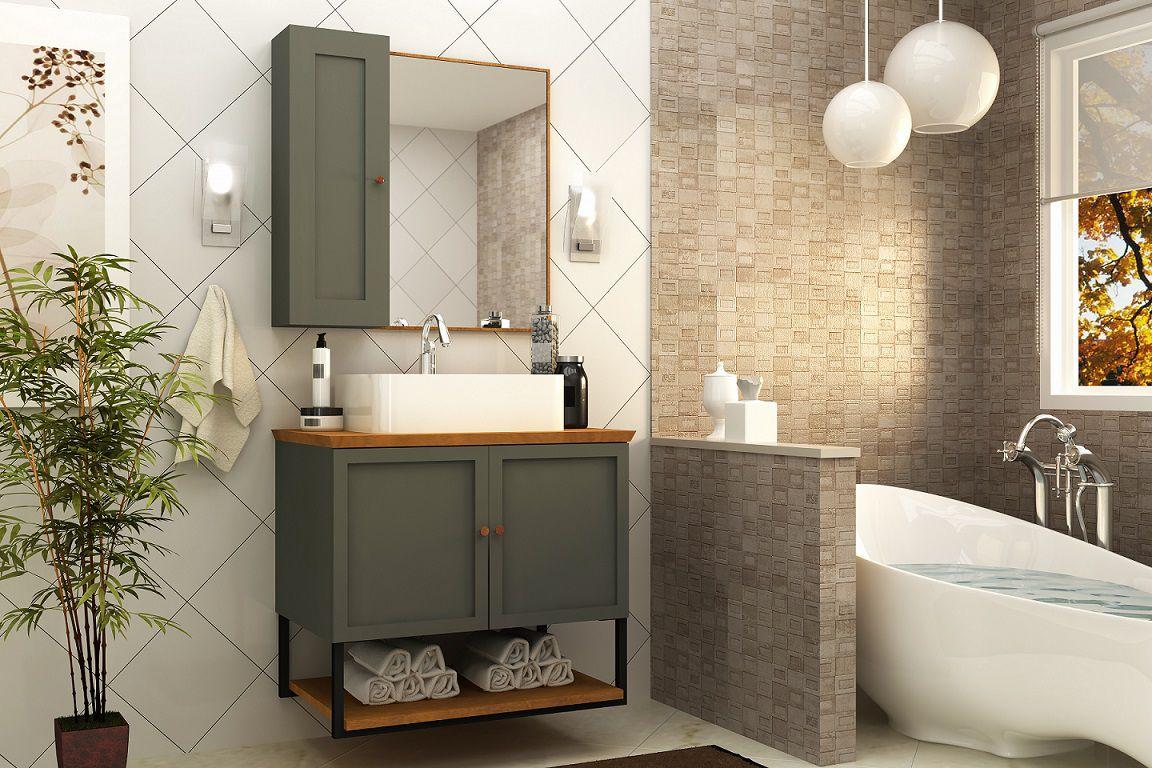 Armário De Banheiro Balcão Nordic 80cm Mazzu