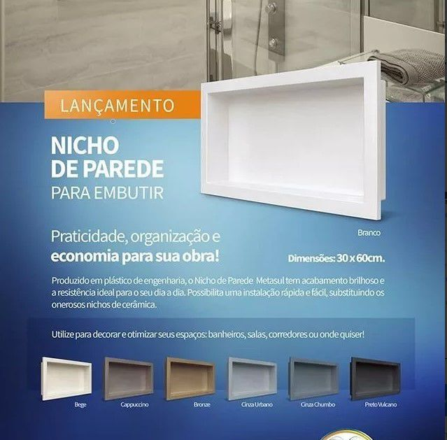 Nicho Para Banheiro Parede Embutir 30x60cm Cinza Chumbo