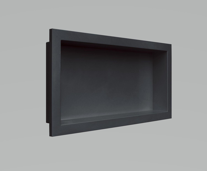 Nicho Para Banheiro Parede Embutir 30x60cm Preto Vulcano
