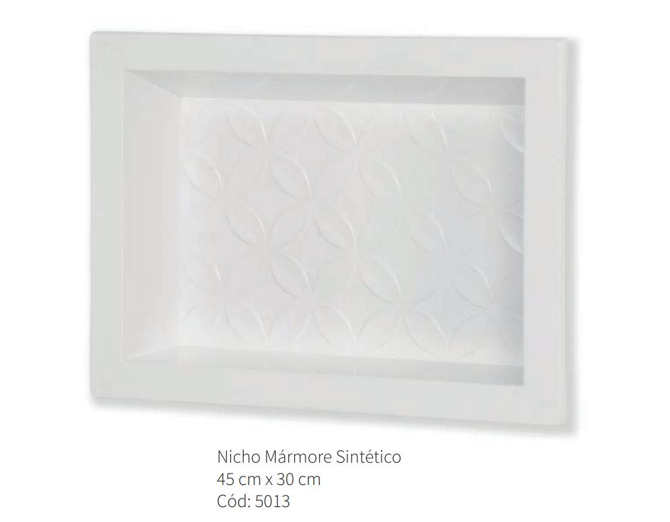 Nicho Para Banheiro Marmorite Parede Embutir 30x45cm Branco