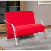 Namoradeira Guanabara tecido suede vermelho braços alumínio