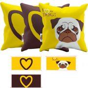 Conjunto 3 Almofadas com Zipper 43x43 cm I Love My Dog Amarelo com Marrom