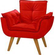 Poltrona Decorativa Opala Art Pés Palito Cor Imbuia Tecido Vermelho