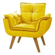 Poltrona Decorativa Opala Cor Amarelo Pés Palito Cor Imbuia