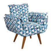 Poltrona Decorativa Opala Tecido Geométrico Azul Pés Palito Cor Imbuia - Casa dos Móveis Ubá