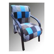 Poltrona Decorativa Patchwork Guanabara Azul com Cinza - Casa dos Móveis Ubá