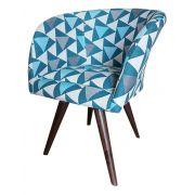 Poltrona Decorativa Pés Palito Afrodite Tecido Azul 2059