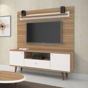 """Rack com Painel Retrô Titânio cor Naturale com Off White TV 60"""" JCM Móveis - Casa dos Móveis Ubá"""