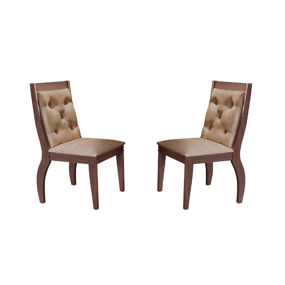 Conjunto Com 2 Cadeiras Agata Cor Café Rufato Móveis