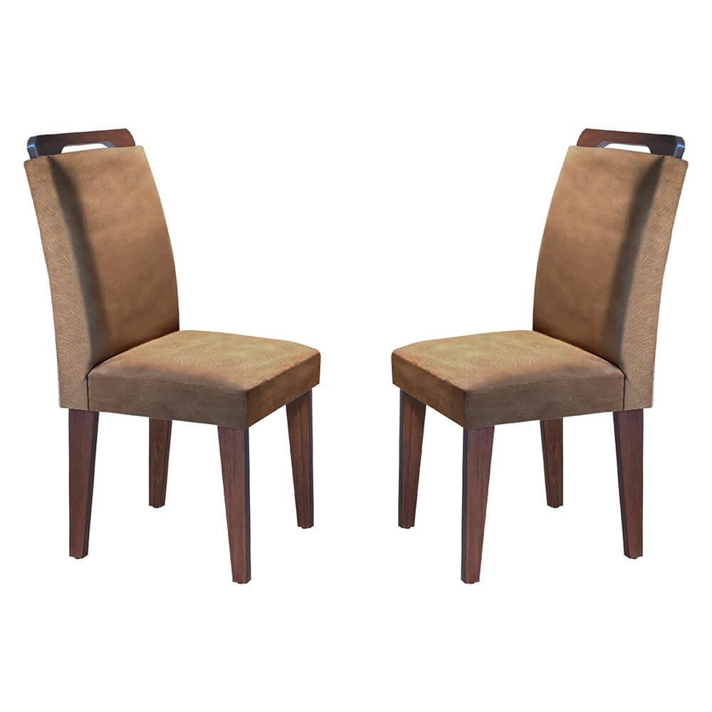 Conjunto Com 2 Cadeiras Athenas Cor Café Rufato Móveis