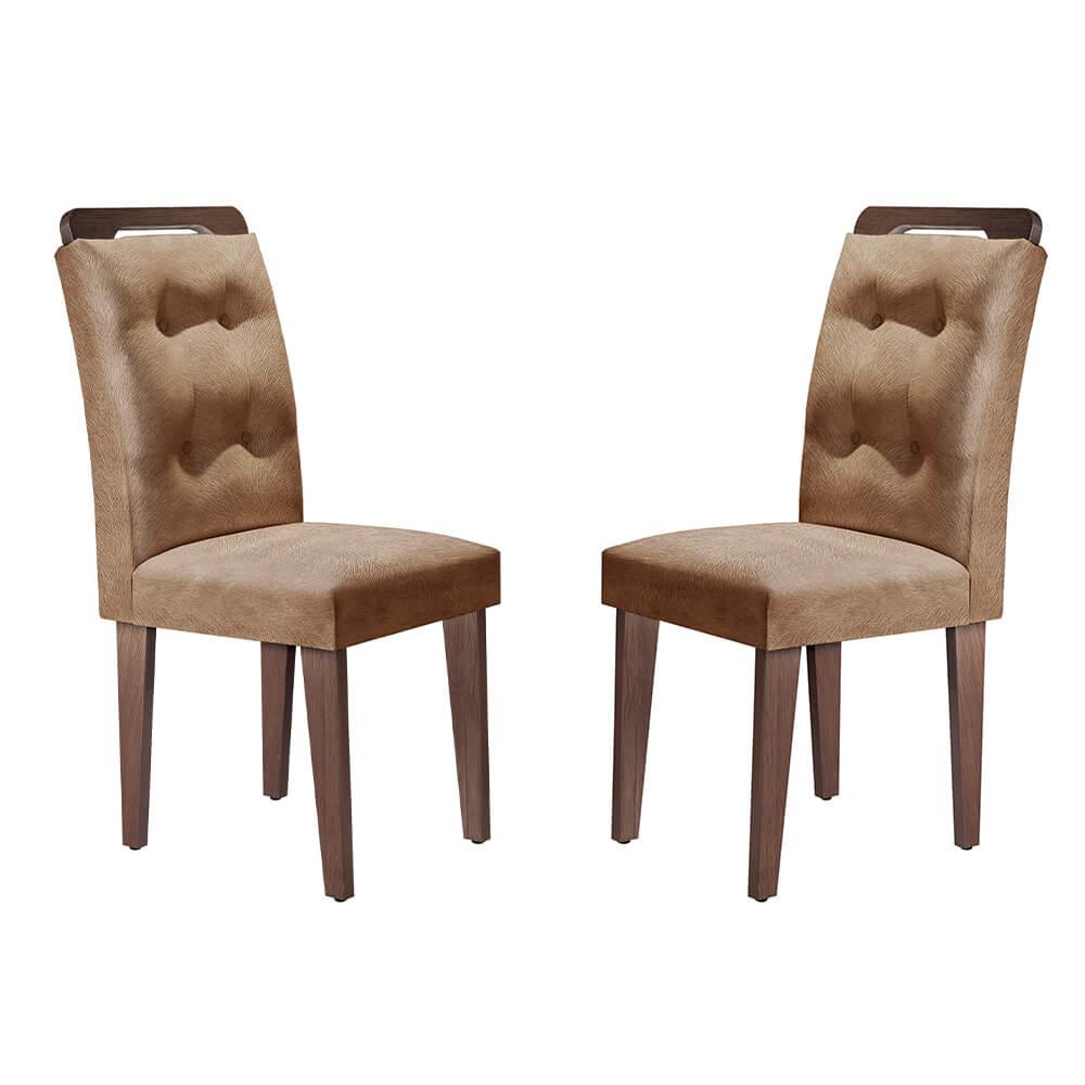 Conjunto Com 2 Cadeiras Imperatriz Cor Café Rufato Móveis