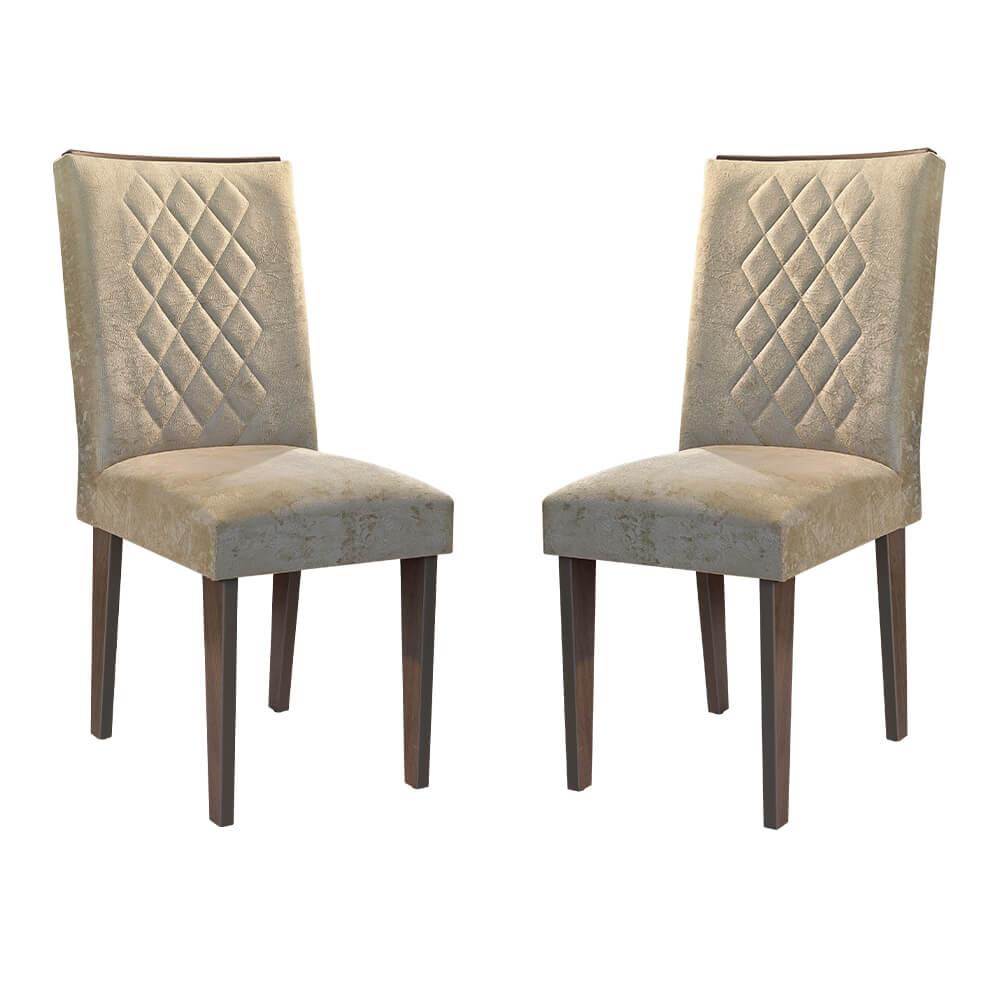 Conjunto Com 2 Cadeiras Jade Cor Café Rufato Móveis