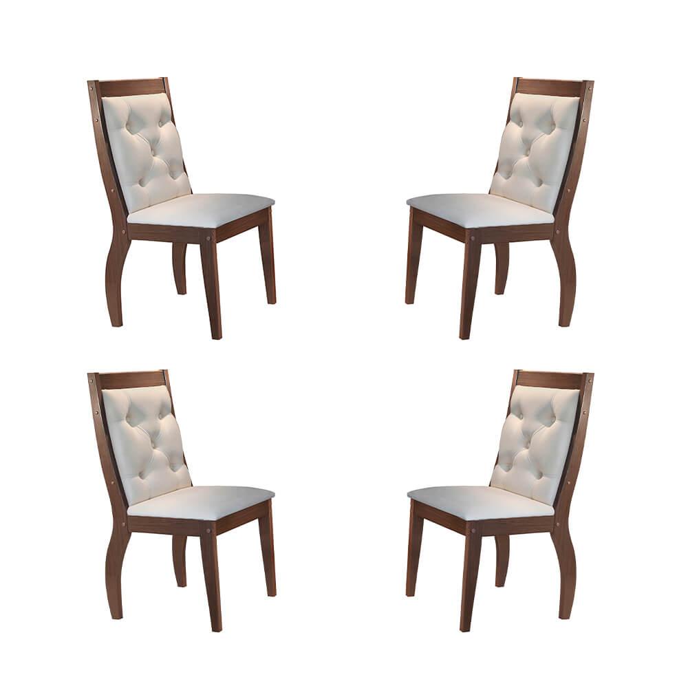 Conjunto Com 4 Cadeiras Agata Cor Café Rufato Móveis