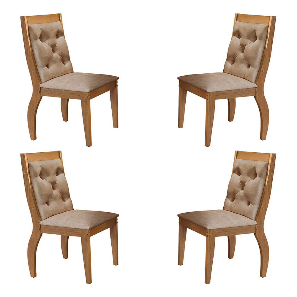 Conjunto Com 4 Cadeiras Agata Cor Imbuia Rufato Móveis