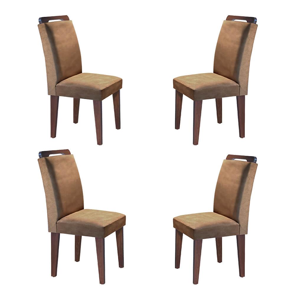 Conjunto Com 4 Cadeiras Athenas Cor Café Rufato Móveis