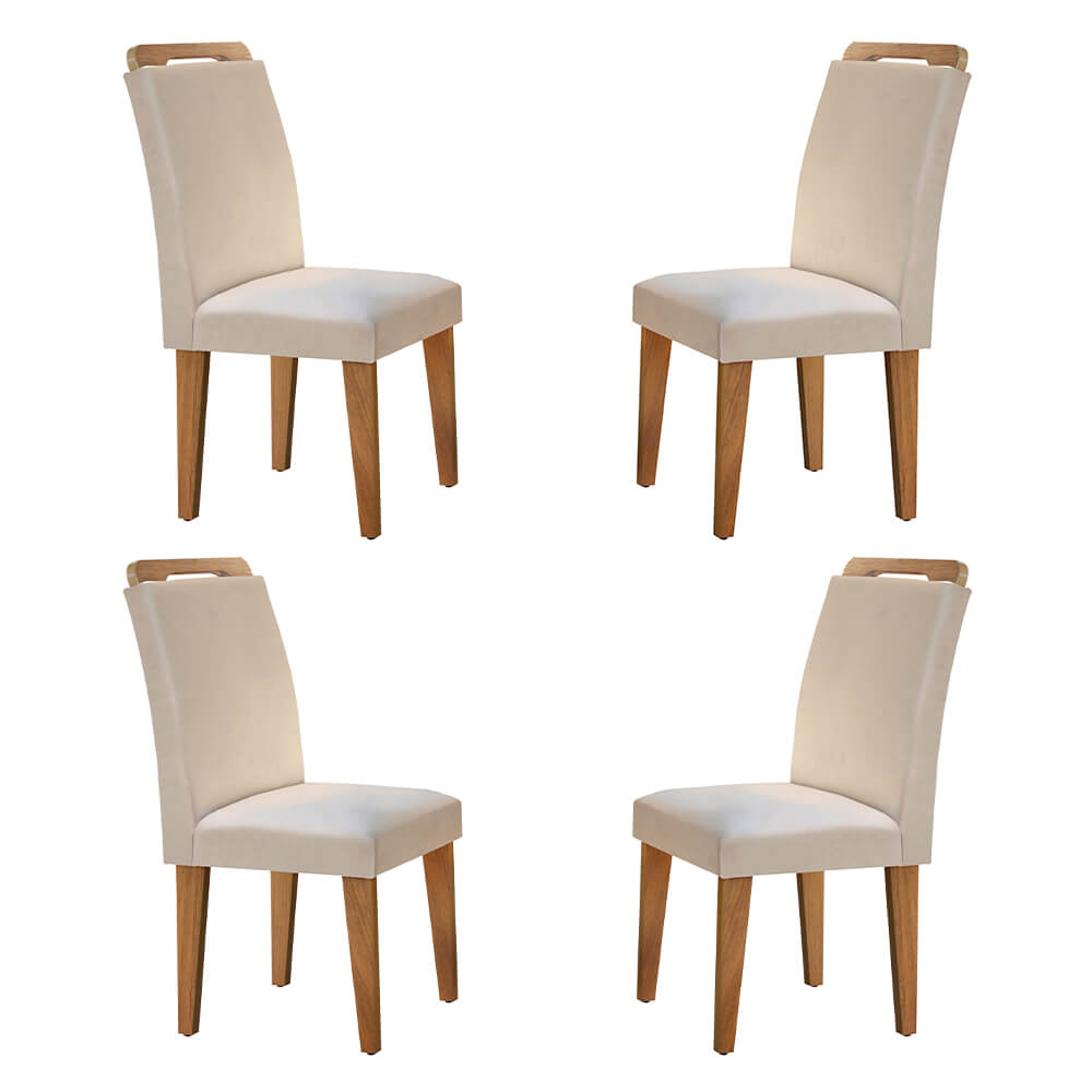 Conjunto Com 4 Cadeiras Athenas Cor Imbuia Rufato Móveis