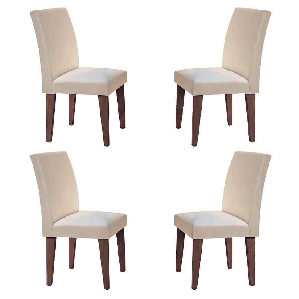 Conjunto Com 4 Cadeiras Grécia Cor Café Rufato Móveis