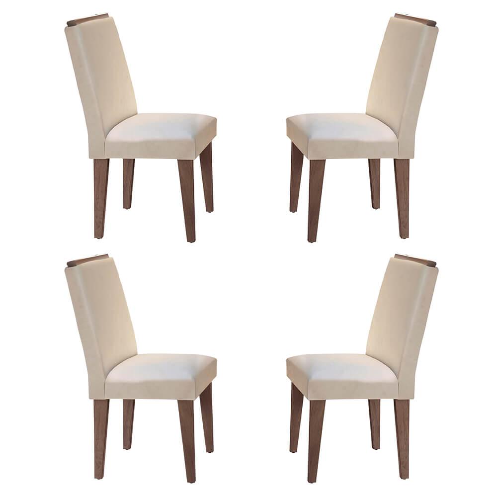 Conjunto Com 4 Cadeiras Lunara Cor Café Rufato Móveis