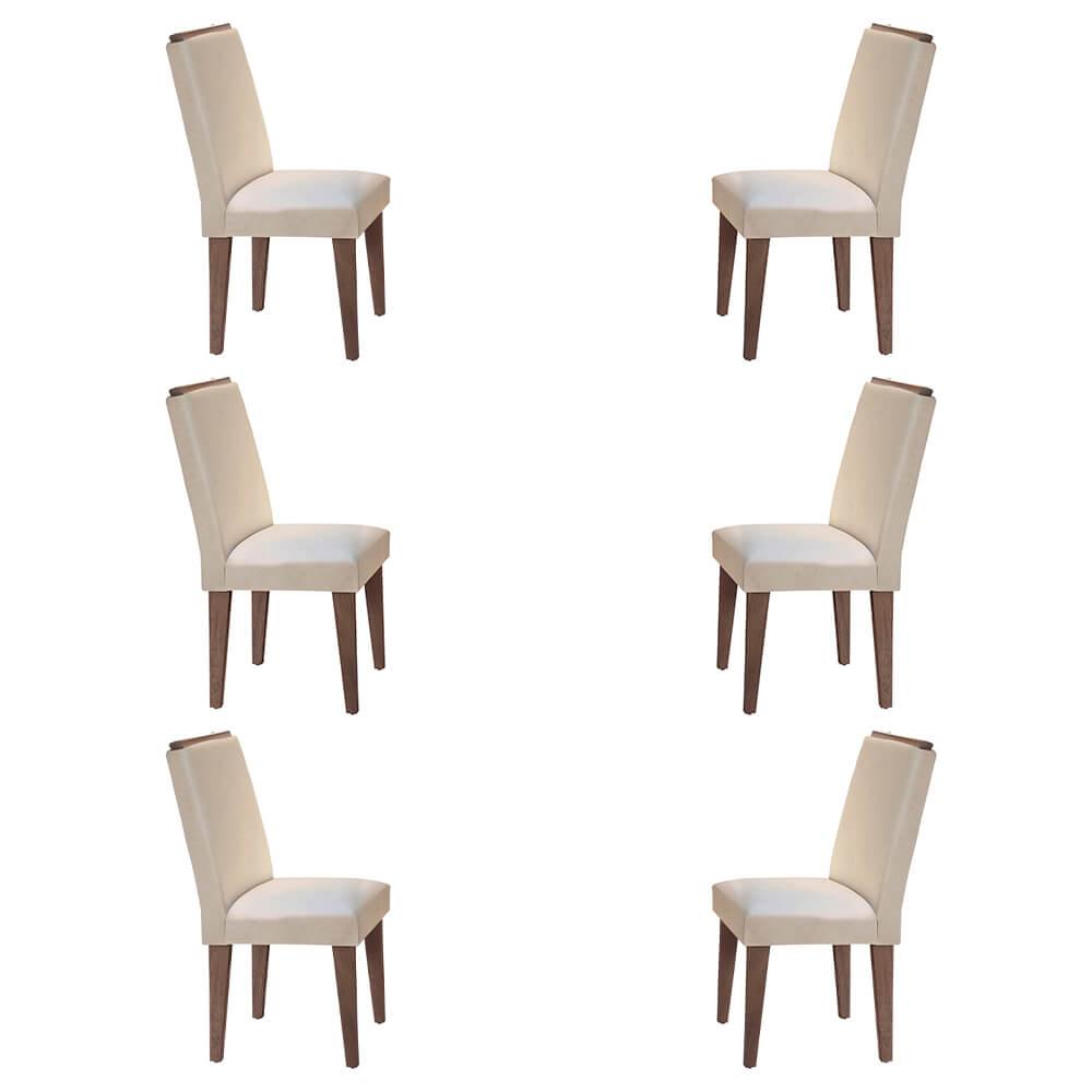 Conjunto Com 6 Cadeiras Lunara Cor Café Rufato Móveis